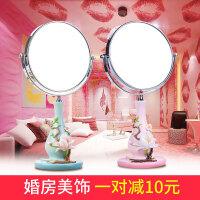 创意桌面化妆镜台式双面梳妆镜放大欧式树脂美容美妆礼物结婚镜子