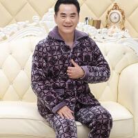 夹棉睡衣男士爸爸冬季加厚珊瑚绒大码中老年人家居服三层棉袄套装