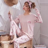 睡衣女冬季长袖春秋韩版甜美可爱卡通学生家居服套装薄款外穿