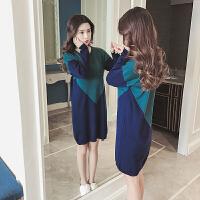 2018秋季新款韩版长袖针织衫孕妇哺乳连衣裙产后喂奶中长款打底衫