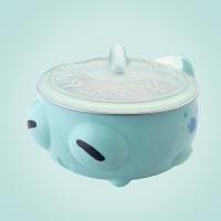 【优选】卡通防摔儿童带盖316不锈钢碗防烫隔热保温碗水杯宝宝碗可爱1-3岁
