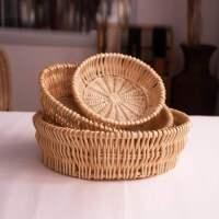手工藤编馒头筐柳编面包馍篮子家用厨房欧式编织收纳筐水果盘欧洲
