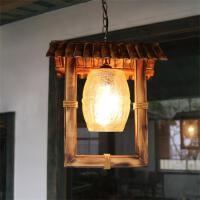 美式乡村吊灯田园竹灯个性怀旧创意咖啡厅餐厅复古玻璃竹编吊灯度假村茶楼会所走廊装饰灯
