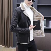 毛领皮衣男加绒加厚翻领冬季新款修身韩版帅气保暖皮夹克棉袄冬装