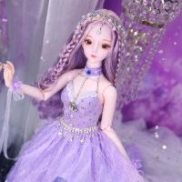 芭比娃娃 新年礼物 精品 德必胜娃娃梦童话系列60cm 26关节3分娃仿真玩具女孩公主礼物bjd换装 紫羽蓝辰