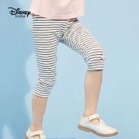 【2件2.3折价:27.3元】迪士尼女童七分打底裤儿童针织中裤2021夏装新品洋气卡通裤子