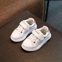 亲子装夏季新款男童女童宝宝小白鞋软底防滑婴儿运动鞋1--3岁透气童鞋 红色 21码内长135cm