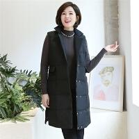 妈妈冬装中长款羽绒服上衣2018新款中老年女士大码休闲马甲外套40 黑色