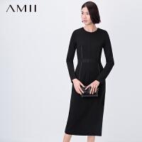 【AMII 超级品牌日】AMII[极简主义]冬半透网布修身大码连衣裙11581556