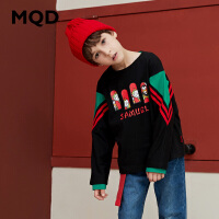 MQD男童长袖T恤纯棉儿童拼接上衣2019秋季新款中大童宽松运动T恤