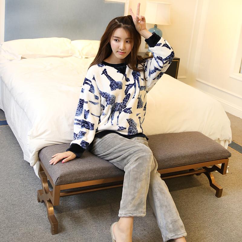 韩版秋冬季睡衣女加厚法兰绒女士睡衣套装修身家居服卡通大码