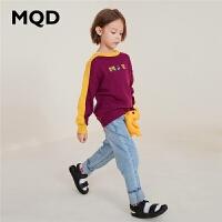 [2S2]MQD童装男童卡通针织衫2019秋季新款中大童拼块上衣儿童毛衣