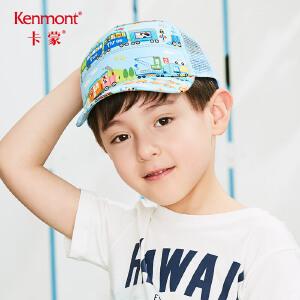 卡蒙3-6岁小孩遮阳棒球帽透气网男童鸭舌帽卡通图案全棉儿童凉帽 4686