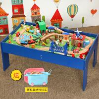 木制托马斯小火车轨道玩具套装游戏桌 2-3-8岁男女孩木质玩具套装 官方标配