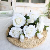 仿真玫瑰花假花套装家居客厅室内干花花束装饰花摆件摆设