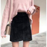 裙子女秋冬季新款高腰不��t港味半身裙�赓|毛呢包臀裙短裙潮