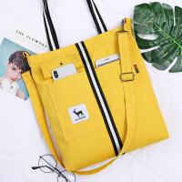韩版女单肩帆布包手提大容量ins环保简文艺斜挎包购物袋子