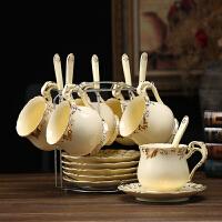 20190828090035008【新品热卖】创意欧式描金咖啡杯碟套装 家用英式陶瓷下午茶杯子 带勺架子 浅黄色L款
