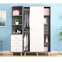 简易衣柜实木推拉门现代简约出租房家用卧室北欧柜子组装宿舍衣橱