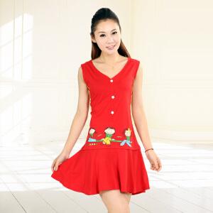金丰田女士夏季无袖可爱卡通短睡裙1263