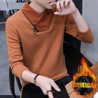 冬季男士长袖t恤韩版卫衣加绒加厚秋装潮流秋衣服保暖高领打底衫
