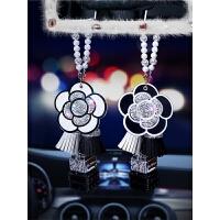 汽车香水挂件创意镶钻女士山茶花车载车内后视镜挂饰香水瓶装饰品