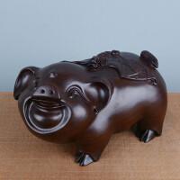 木雕猪摆件木质福猪十二生肖猪幸福猪招财小猪仿真猪质家居饰品风水红木工艺品猪年吉祥物*礼物