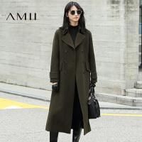 AMII[极简主义]冬翻领双排扣羊毛呢子外套大衣女长款11632311