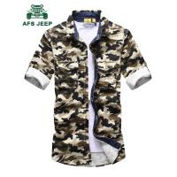 战地吉普AFS JEEP男士纯棉迷彩长袖衬衫 春秋款户外时尚休闲迷彩长短两用衬衫男