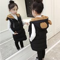 女童马甲秋冬2018新款保暖加厚中大童儿童女孩连帽加厚棉背心外套