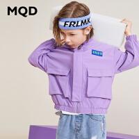 MQD童装男童连帽外套潮2019新款秋装中大童儿童工装外套韩版洋气