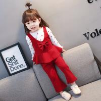 中小童洋气女宝宝套装2019春秋冬新款韩版女童长袖三件套