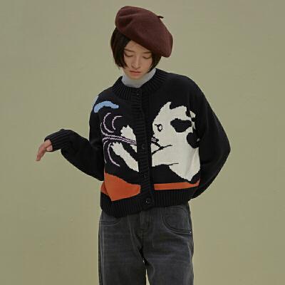 LLANO原创设计云人涂鸦黑色针织衫开衫毛衣上衣外套女装春秋季ins