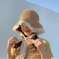 沙滩度假蕾丝渔夫亲子帽 ins春夏款儿童防晒草帽cos女仆宝宝遮阳帽