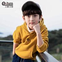 2019冬装新款中大童韩版童装男童加绒卫衣儿童连帽打底衫