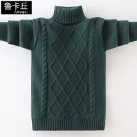 中大童儿童针织衫男孩高领加绒加厚打底衫2019冬新款男童套头毛衣