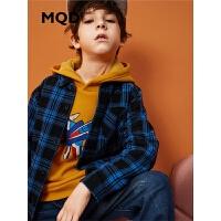 【1件3折:150】MQD童装男童格纹衬衣冬装新款加绒加厚儿童卡通衬衫