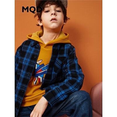 MQD童装男童格纹衬衣冬装新款加绒加厚儿童卡通衬衫