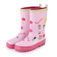 儿童雨鞋粉红小猪女童雨靴防滑水鞋小孩时尚保暖加绒水鞋