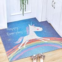 好货北欧卡通可裁剪丝圈地垫入户门进门家用门口脚垫地毯门厅门垫