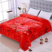 大红结婚庆毛毯喜被子10斤双人冬季加厚珊瑚绒双层云毯定制 银色 富贵香韵8斤