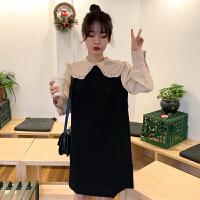 三木子快时尚女装~韩版纯色连衣裙+花边领衬衣两件套