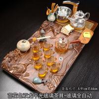 整套家用简约茶具套装 功夫玻璃喝茶杯 全自动四合一实木茶盘茶道 38件