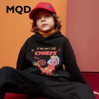 MQD童装19秋冬新款男童连帽加绒卫衣儿童保暖套头小卫衣韩版加厚