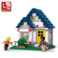 快乐小鲁班积木legao玩具 男孩拼装街景模拟城市系列拼插房子