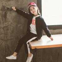 女童秋天套装2018新款儿童棒球服两件套韩版中大童女童运动衣服潮wk-95 棒球服套装 黑色