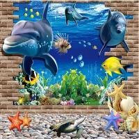 海豚3D墙贴客厅沙发背景墙壁贴画创意装饰卧室立体感海洋贴纸防水 特大
