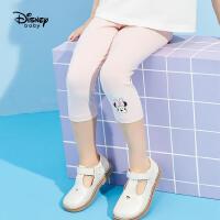 618【2件4折:38元】迪士尼童装女童七分打底裤儿童针织中裤2021夏装洋气卡通裤子