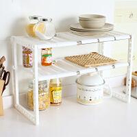 不锈钢下水槽架厨房置物架锅架多层伸缩储物收纳架碗架落地 白色