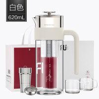 高端FU+享系列玻璃冷水壶套装过滤家用耐热透明开水壶咖啡壶抖音 620ml白色套装